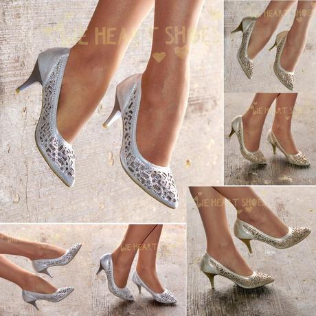 Stříbrné společenské, plesové sandálky, 36