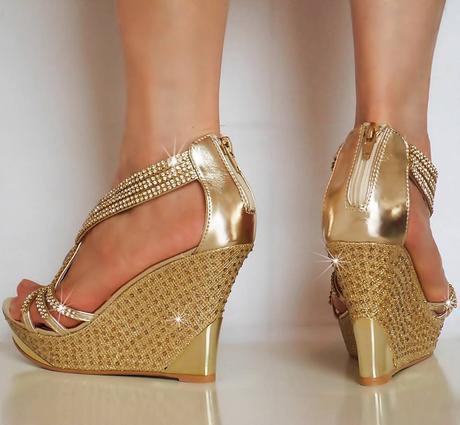 Stříbrné společenské sandálky na klínku, 36-41, 37