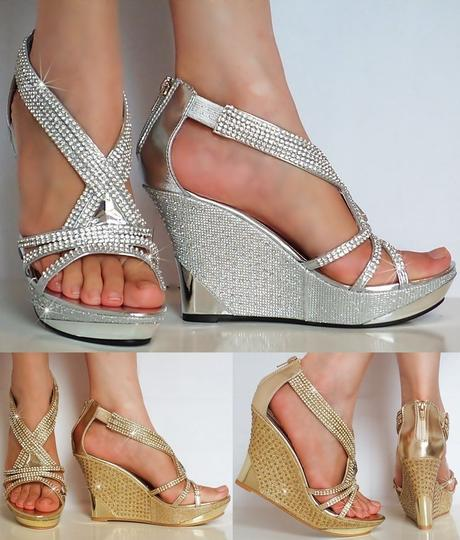 Stříbrné společenské sandálky na klínku, 36-41, 40