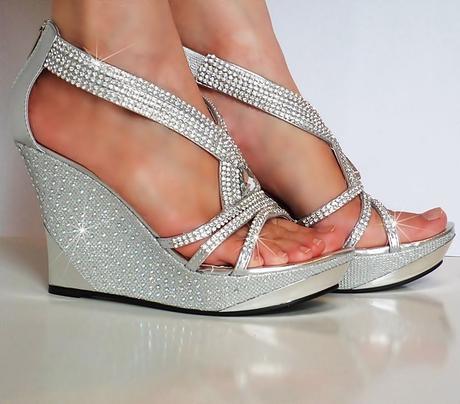 Stříbrné společenské sandálky na klínku, 36-41, 41