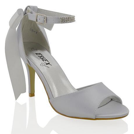 Stříbrné svatební, společenské sandálky, 37