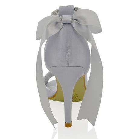 Stříbrné svatební, společenské sandálky, 41