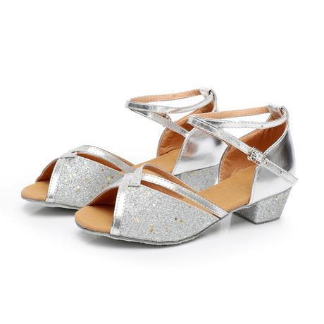 Stříbrné taneční společenské sandálky, 24-38, 24