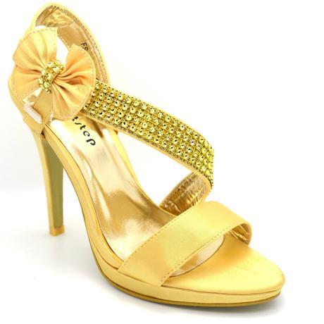 Stříbrné, zlaté společenské plesové sandálky, 36-4, 36