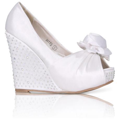 Svatební saténové boty, vysoký klínek, 36-41, 36