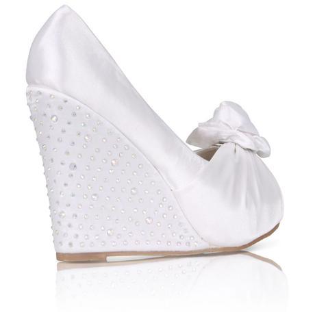 Svatební saténové boty, vysoký klínek, 36-41, 37