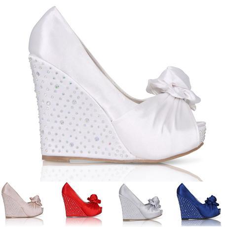 Svatební saténové boty, vysoký klínek, 36-41, 41