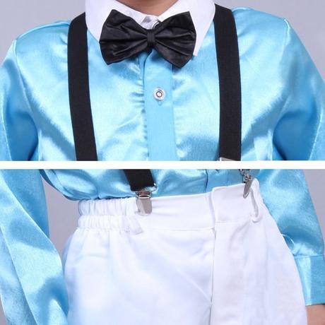 Světle modrý chlapecký oblek, kšandy, 104