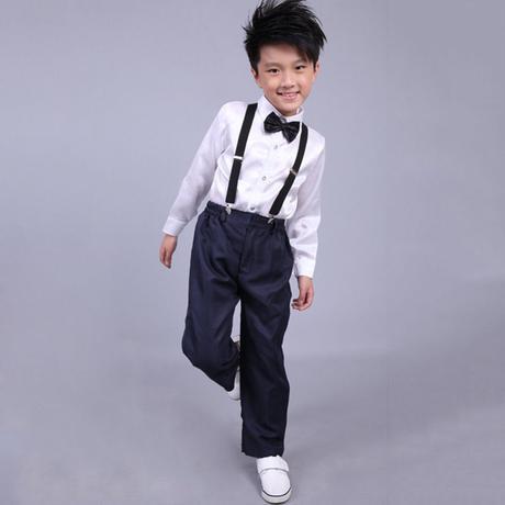 Světle modrý chlapecký oblek, kšandy, 110