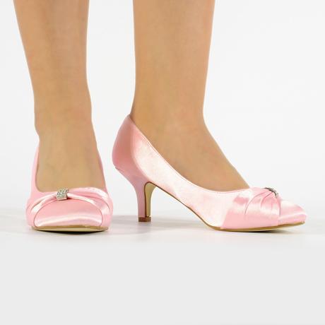 Světle růžové saténové lodičky, nízký podpatek, 36
