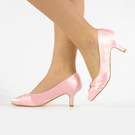 Světle růžové saténové lodičky, nízký podpatek, 39