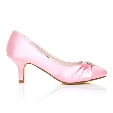 Světle růžové saténové lodičky, nízký podpatek, 40