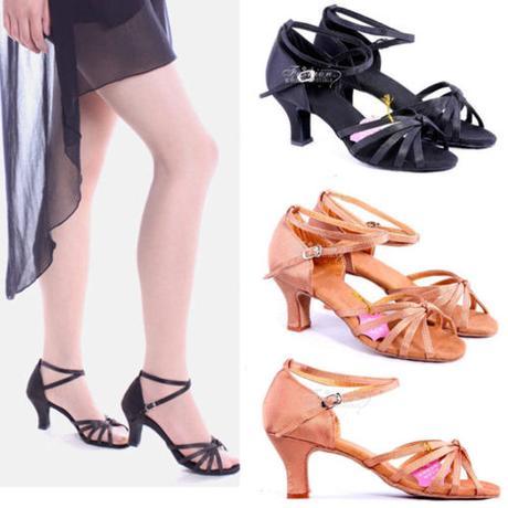 Tělové nebo černé taneční sandálky, 35-40, 36
