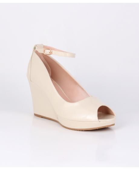 Tělové svatební sandálky, klínek, 38