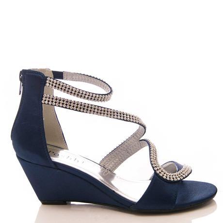 Tmavě modré společenské, plesové sandálky, 36-41, 38