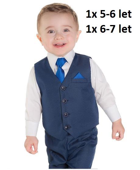 Tmavě modrý chlapecký oblek, 4-8 let, půjčovné, 110