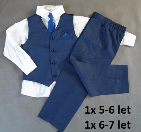 Tmavě modrý chlapecký oblek, 4-8 let, půjčovné, 128