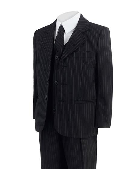 Tmavě modrý oblek s proužky, 128