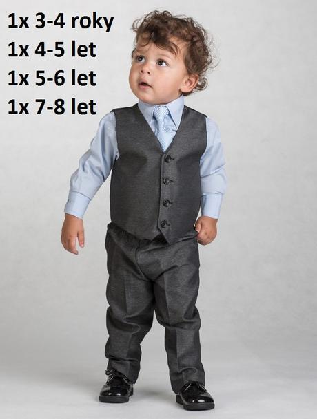 Tmavě šedý oblek 5-6 let - půjčovné, 122