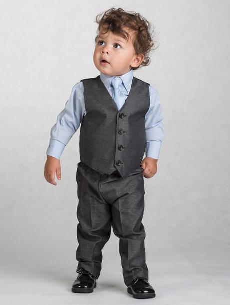 Tmavě šedý oblek, modrá košile, 3m-8let, půjčovné, 86