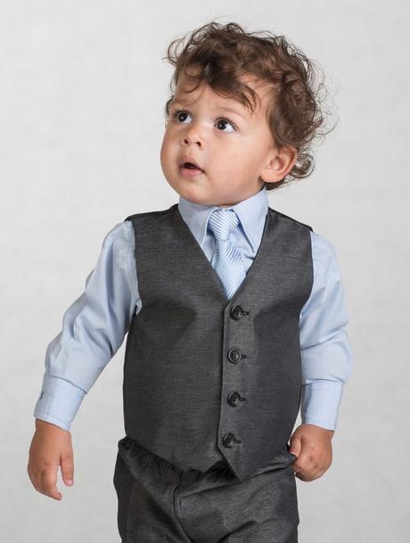 Tmavě šedý oblek, modrá košile, 3m-8let, půjčovné, 116