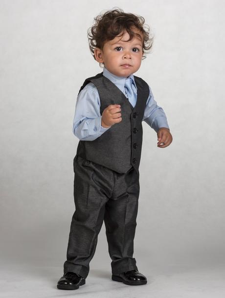 Tmavě šedý oblek, modrá košile, 3m-8let, půjčovné, 122