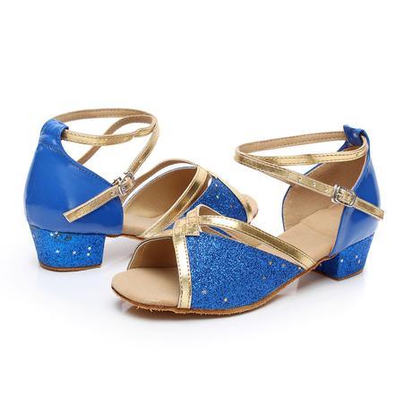 Tygrované, zlaté taneční sandálky, 24-38, 25