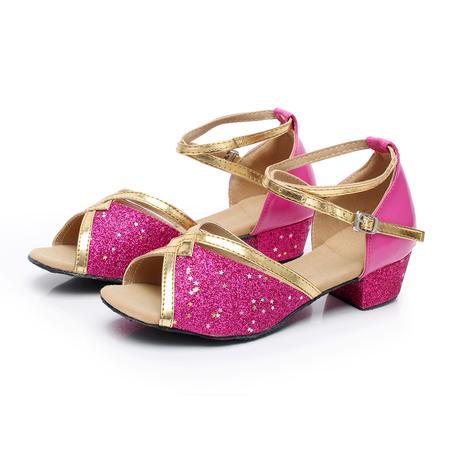 Tygrované, zlaté taneční sandálky, 24-38, 26