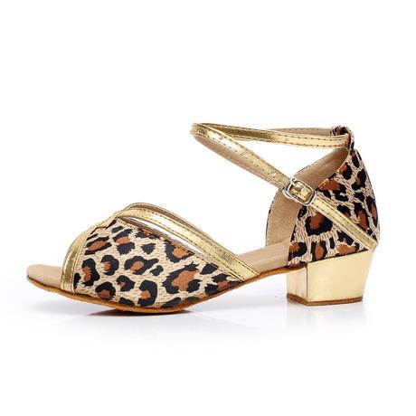 Tygrované, zlaté taneční sandálky, 24-38, 27