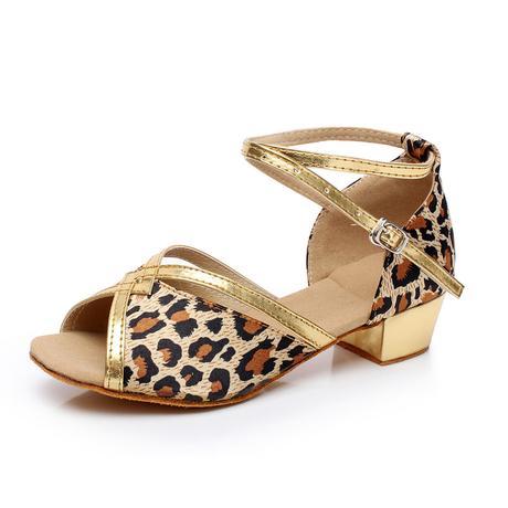 Tygrované, zlaté taneční sandálky, 24-38, 28