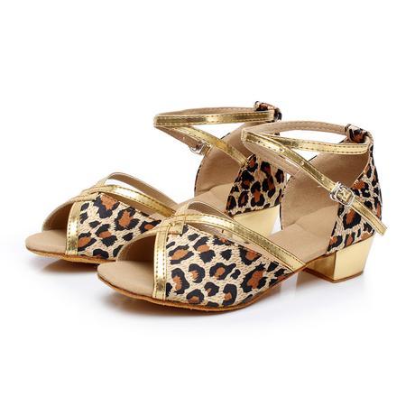 Tygrované, zlaté taneční sandálky, 24-38, 29