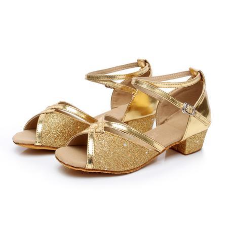 Tygrované, zlaté taneční sandálky, 24-38, 30