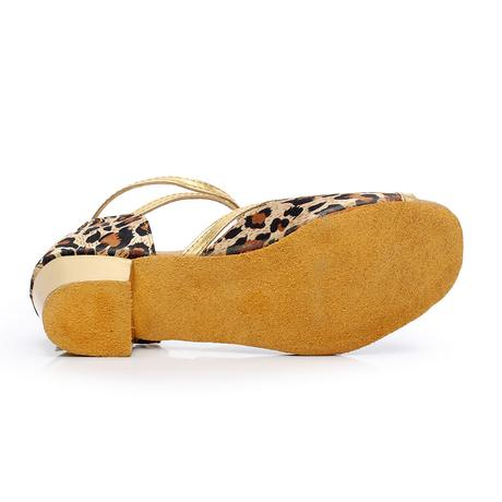 Tygrované, zlaté taneční sandálky, 24-38, 34