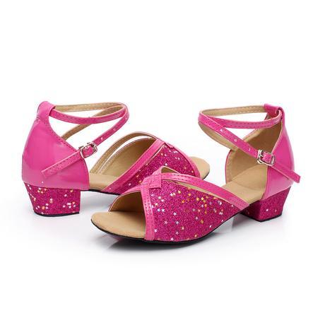 Tygrované, zlaté taneční sandálky, 24-38, 35