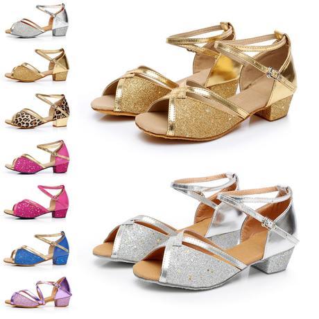 Tygrované, zlaté taneční sandálky, 24-38, 36