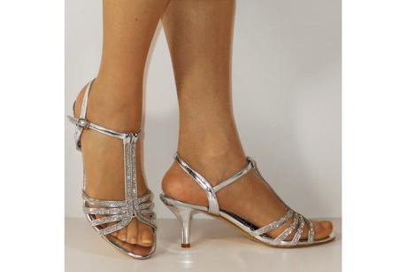Výprodej - stříbrné plesové sandálky, 36-41, 40