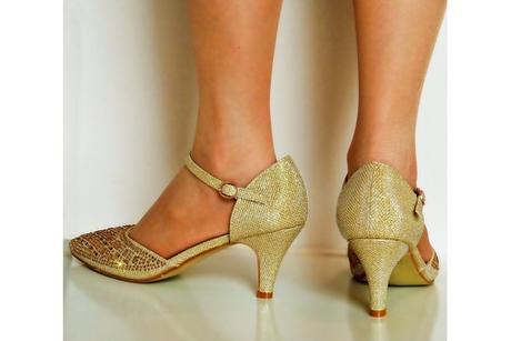Výprodej - zlaté plesové lodičky, různé velikosti, 36