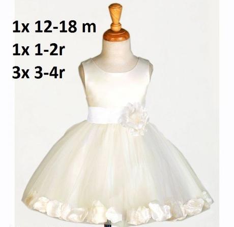 Zapůjčím ivory šaty pro družičky - 1-4 roky, 92