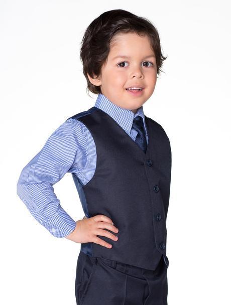 Zapůjčím tmavě modrý oblek 6-12 m a 4-5 let, 104