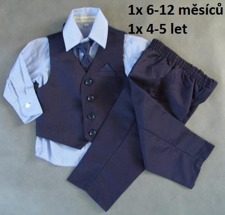 Zapůjčím tmavě modrý oblek 6-12 m a 4-5 let, 74