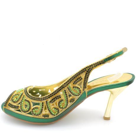 Zelené společenské, plesové sandálky, 36-41, 37
