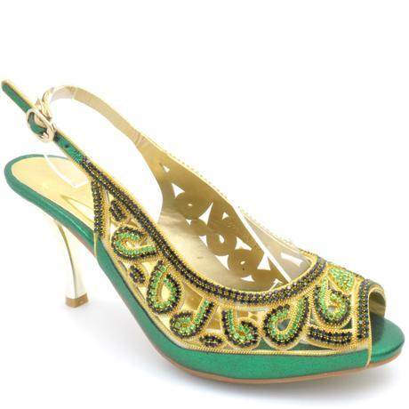 Zelené společenské, plesové sandálky, 36-41, 39