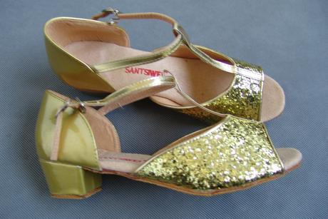 Zlaté flitrované dětské taneční boty - 23,5cm, 36