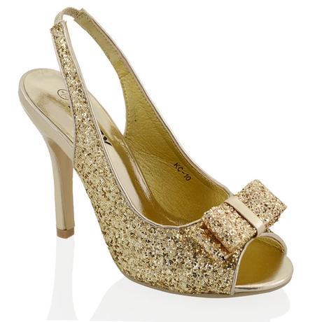 Zlaté flitrované společenské sandálky, 36-41, 37