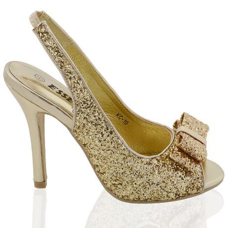 Zlaté flitrované společenské sandálky, 36-41, 40