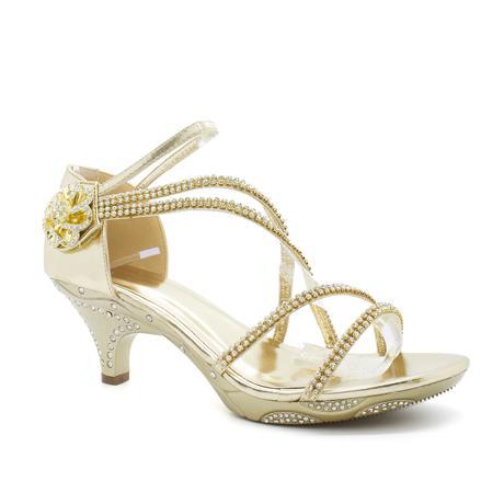 Zlaté plesové, svatební sandálky, nízký podpatek, 37
