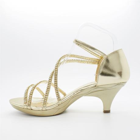 Zlaté plesové, svatební sandálky, nízký podpatek, 40