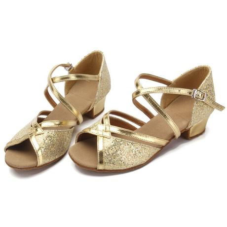 Zlaté, růžové, stříbrné taneční boty, sandálky, 33