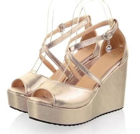 Zlaté společenské boty na klínku, 35-42, 38