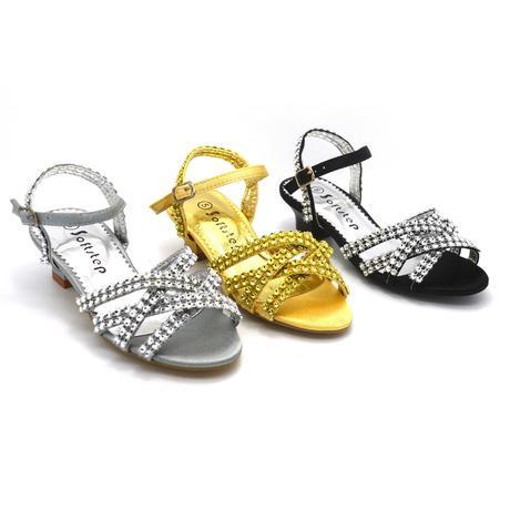 Zlaté společenské plesové sandálky, 35, 35